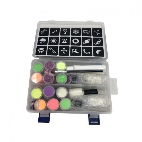 Nail Art Glitter/3D Luminous Powder/Tattoo Sticker Set