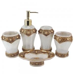 Golden 5 Piece Bathroom Accessory Set