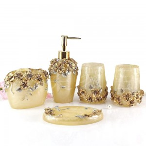 Romantic Estate Resin 5 Piece Bathroom Accessory Set