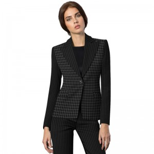Tailored Plaid Pant Suit For Women