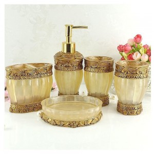 Palace Style Resin 5 Piece Bathroom Accessory Set