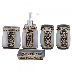 Deluxe Ceramic 5 Piece Bathroom Accessory Set