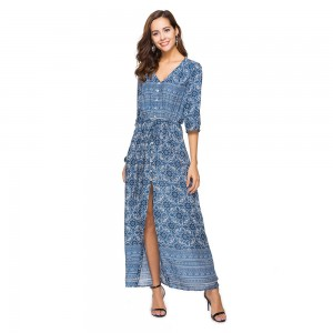 V-Neck Bohemian Printed Beach Dress